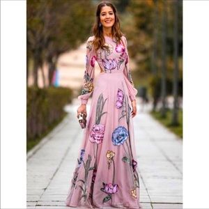 Sexy Backless Floral Print Long Sleeve Maxi Dress
